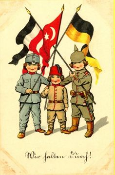"WWI Propaganda from Germany."" Translated: We persevere or we'll hold out to the end, stick it Ww1 Propaganda Posters, Political Posters, Ottoman Flag, Ottoman Empire, Wilhelm Ii, Kaiser Wilhelm, World War One, First World, Alternate History"