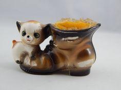Vintage Hand Painted Enamel Glaze Porcelain Cat Kitty & Boot Pin Cushion