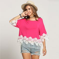 Beautiful cotton and lace blouse