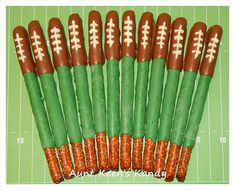 FOOTBALL Gourmet Chocolate Covered Pretzel Rods by AuntKeensKandy
