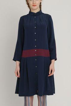 AW1213 CREPE DE CHINE LOYAL DRESS - SLATE