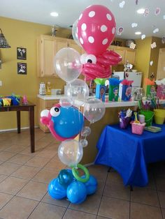 Absolutely loved how they came out! #fish&octopus #floorbouquet #balloon creationsbysansy
