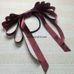 ハンドメイド♡豪華5段のロングリボンヘアゴム♡サテンとベルベット  http://s.ameblo.jp/bouquet-de-coeur/  Handmade long ribbon hair accessories. satin or velvet