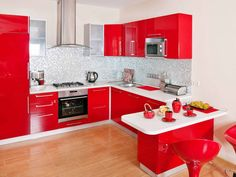 Cocina roja Pose, Kitchen Cabinets, Kitchen Cabinetry, Kitchen Base Cabinets, Dressers