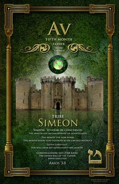 Biblical Months by James Nesbit Fifth month of Av Tribe of Simeon Stone: Emerald