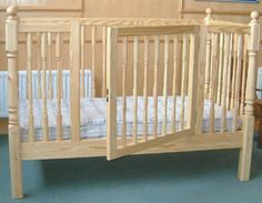 Fixed height cot with opening door, no more back straining to pick up toddler's.