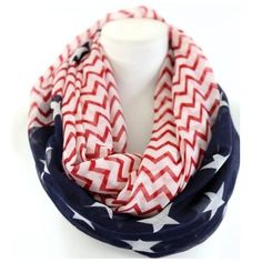 Stars Stripes & Chevron Print Infinity Scarf B25 Infinity Scarf ‼️‼️ 7 AVAILABLE ‼️   ‼️️PRICE FIRM UNLESS BUNDLED‼️ BEAUTIFUL!  Stars & stripes mixed with fashionable chevron print!  You are sure to dress up even the most basic outfit with this beautiful scarf!  100% viscose.  Please check my closet for many many more items including jewelry and designer scarves.  Length 24  Width 38 Boutique Accessories Scarves & Wraps