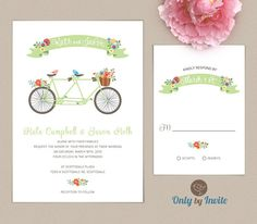 Tandem Bicycle Wedding Invitation And Rsvp Card Set Personalized Fl Mint Green