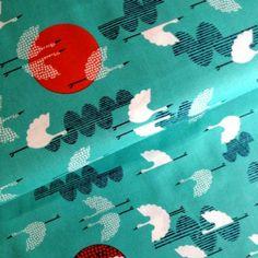 Organic Tsuru - 1000 Cranes Cerulean Fabric www.funkyfabrix.com.au