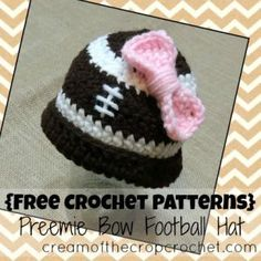 Cream Of The Crop Crochet ~ Preemie Bow Football Hat {Free Crochet Pattern}