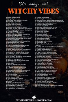 Check out my playlist of songs with witchy vibes. Whether you're looking for something dark and dangerous, light and ethereal or supernatural in nature, you're bound to find it on my Witchy Vibes playlist. Halloween Music, Halloween Tags, Holidays Halloween, Halloween Playlist Music, Halloween Party Songs, Halloween Ideas, Halloween Costumes Adult, Halloween Things To Do, Halloween Drinking Games