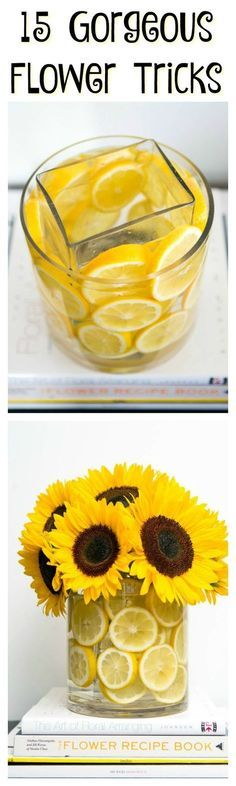 Make your home more beautiful with this unique flower display. Stack a vase within a vase in order to layer fruit slices along the inside.