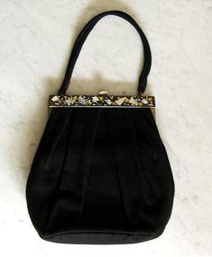 40s Black Wool Embellished Ladies Handbag / Purse