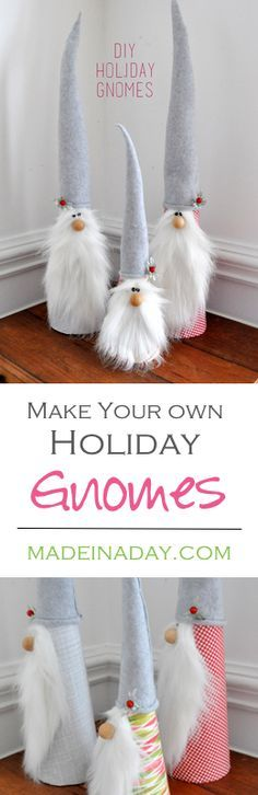 Learn to make these sweet Holiday Gnomes out of fleece and foam cones! Super easy craft for the holiday season.