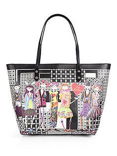 Love Moschino Borsa Manici Tokyo Girls Printed PVC Tote