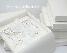 lace wedding invitations in boxes
