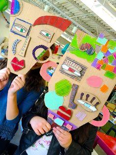 cardboard masks making for kids - oh what fun   @handmakery
