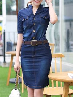 Chic Women's 1/2 Sleeve Belted Bleach Wash Single Breasted Denim Dress
