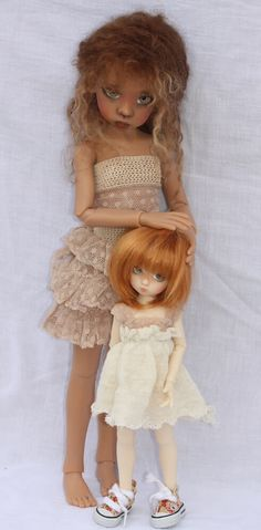 Fair Skin Millie YOSD with Tan Skin Nyssa MSD BJD... Both by Kaye Wiggs
