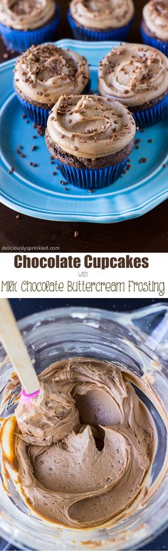 Homemade Chocolate Cupcakes with Milk Chocolate Buttercream Frosting #desserts #recipe #cupcakes .