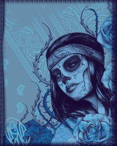 skull face with flowers Sugar Skull Tattoos, Sugar Skull Art, Sugar Skulls, Candy Skulls, Los Muertos Tattoo, Graffiti, Latino Art, Paisley Art, Lowrider Art