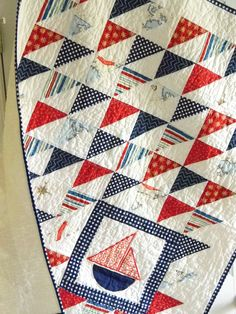 Nautical Sailboat Baby Boy Quilt by SWDesignsBaby on Etsy
