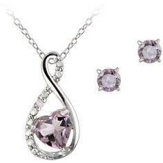 0.9 Carat T.G.W. Amethyst and Diamond Accent Sterling Silver Infinity Pendant and Earring Set, 18″