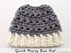 Maria's Blue Crayon: Quick Crochet Messy Bun Hat using Chunky Yarn