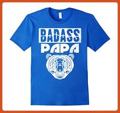 Mens Badass Papa Bear Dad T-Shirt 2XL Royal Blue - Relatives and family shirts (*Partner-Link)