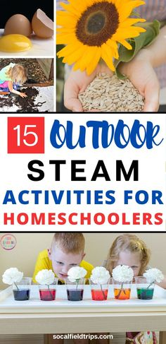 Are you looking for a fun STEAM activity to do with your homeschooler? Then check out this list of 15 outdoor STEAM activities that can be done in the spring or summer. They only require a limited number of supplies and can be completed in under 1 hour. Educational Activities For Kids, Steam Activities, Outdoor Activities For Kids, Science Activities, Summer Activities, Preschool Activities, Outdoor Learning, Science Ideas, Camping Activities