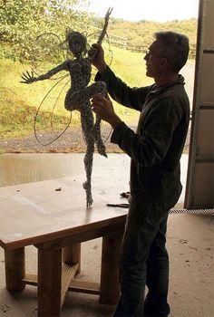Robin Wight Tree Sculpture, Outdoor Sculpture, Wire Sculptures, Chicken Wire Art, Chicken Wire Sculpture, Garden Whimsy, Garden Art, Robin Wight, Fantasy Wire