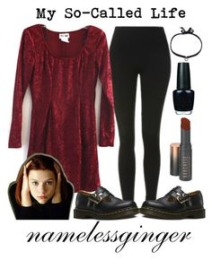 """""""Angela Chase"""" by namelessginger ❤ liked on Polyvore featuring Topshop, OPI, Borghese, Dr. Martens and DANNIJO"""