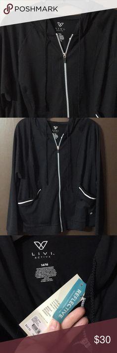 NWT livi active jacket NWT Lane Bryant livi active wear jacket. Zip front, hooded, pockets have reflective trim, long sleeve has thumb holes! Black size 14/16 Lane Bryant Jackets & Coats
