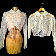 Vintage 1950s Ecru Lace Bolero Jacket Blouse  $65.00