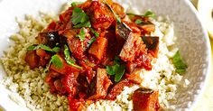 This recipe for cauliflower rice with aubergine ragoût is really on-trend. By blitzing cauliflower in a food processor, and quickly cooking, you get the consistency and texture of rice but without the carbs and with fewer calories. It still fills you up, and it's quicker to cook, too.