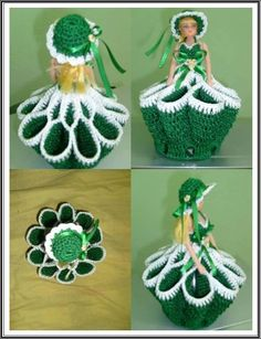 Crochet Crinoline Lady Doily with an umbrella lace Appliqu Crochet Doll Dress, Crochet Poncho, Baby Blanket Crochet, Crochet Stitches, Crochet Baby, Crochet Crafts, Crochet Projects, Knitting Patterns, Crochet Patterns