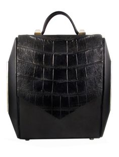 Lambskin and Alligator Embossed Leather Box Bag By Senderkis Collection $650.00