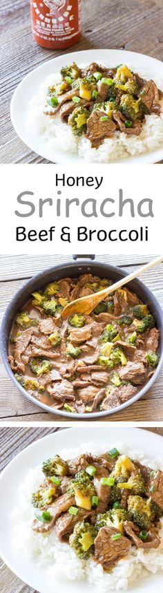 Honey Sriracha Beef and Broccoli - Saucy, sweet, and spicy. Better than take-out!