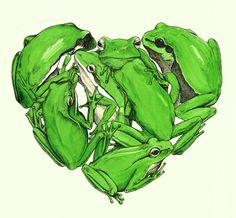 Frogs Print Green Heart by samlane on Etsy, $150.00