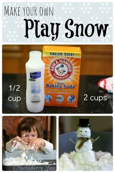 Make your own play snow! Only two ingredients, and your kids will be in for hours of fun.