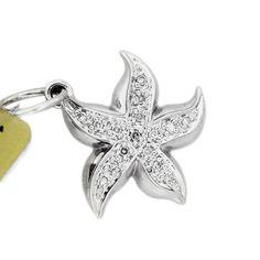 14k White Gold Pave Diamond Starfish Charm Pendant