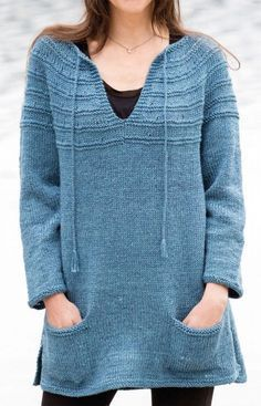 Free Knitting Pattern for Lena s Top-Down Sweater - Long-sleeved  tunic-length e429ec8fc9