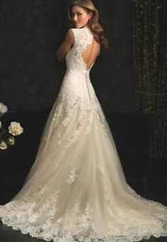 High End Lace Cap Sleeves Backless wedding dress-Tailor made from WeiweiK