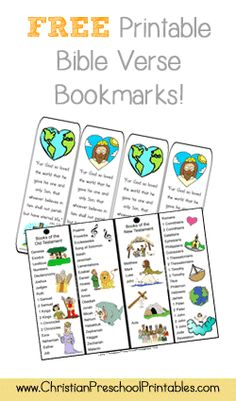Free Printable Bible Verse Bookmarks http://www.christianpreschoolprintables.com/BibleBookmarks.html