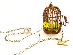 Rustic Bird Cage necklace, vintage glass beaded — Fixed price $32.50