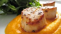 Seared scallops with creamy carrot puree   (gonna switch out the carrots for butternut squash)