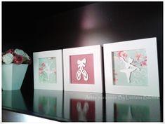 Lindo trio de quadros pensado para deixar o quarto de sua bebê ainda mais bonito.  Quadro e aplique em mdf pintado de branco e parte do fundo forrado com tecido.    medida de cada quadro 18x18    ***O preço é para o trio. ****  Podem ser feitos noutras cores e tamanho    Para mais detalhe nos con...