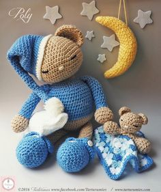 ❤ Poly the sleeping amigurumi bear and his blankey (free crochet patterns) ❤Mindy - craft idea & DIY tutorial collection Crochet Amigurumi Free Patterns, Crochet Dolls, Crochet Baby, Free Crochet, Stuffed Toys Patterns, Crochet Animals, Yarn Crafts, Beautiful Dolls, Crochet Projects