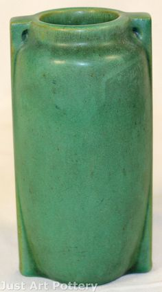 Teco Pottery Matte Green Two Buttress Vase from Just Art Pottery