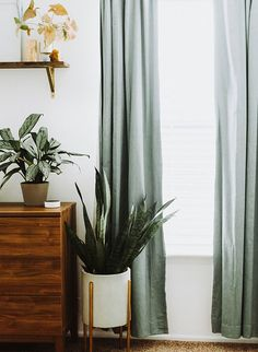 A Modern Nursery in Shades of Rust & Green – Inspired By This - Curtains Sage Green Bedroom, Living Room Green, Green Rooms, Home Living Room, Green Bedroom Curtains, Curtains In Nursery, Ikea Curtains, Olive Green Curtains, My New Room